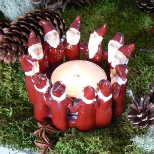 Harvesttime Teelichthalter für ein großes Teelicht Wichtelring rot