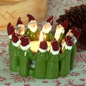 Harvesttime Teelichthalter für ein großes Teelicht Wichtelkreis grün