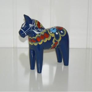 Dalarnapferd 13 cm blau