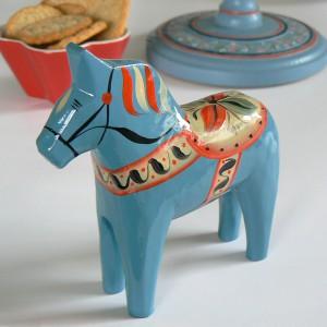 Dalapferd Masen 13 cm dala-blau Holz, handbemalt