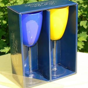Tolles Geschenk für Schwedenfans: 2 Weingläser in Blau und Gelb