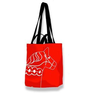 Einkaufstasche / Einkaufsbeutel / Shopper Ninas Dalapferd rot mit 4 schwarzen Trageriemen