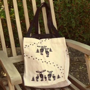 Schwedische Einkaufstasche Elchspur beige-schwarz mit langen und kurzen Riemen