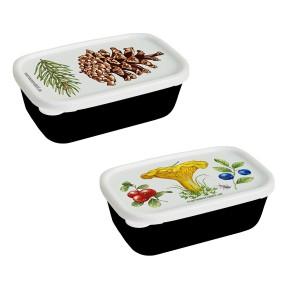 2 Minidosen mit Zapfen-, Pfifferling-, Blaubeer-, Preiselbeer-Motiv