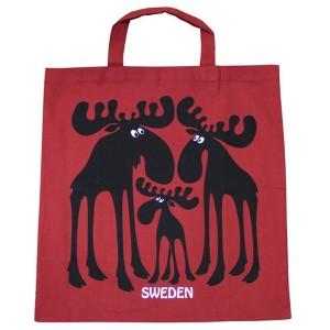 Einkaufsbeutel Elch Trio rot aus Baumwolle