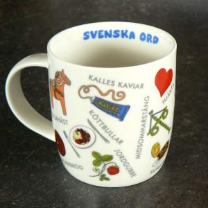 Kaffeebecher Schwedische Wörter weiß