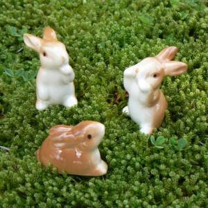 Drollige Mini Porzellan Osterhasen (3er-Set)