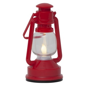 LED-Laterne rot flackernd aus Kunststoff