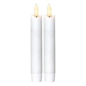 LED-Echtwachs-Stabkerzen (2er-Set) 15 cm weiß mit Timer, flackernd