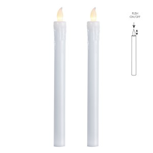 LED-Echtwachs-Stabkerzen (2er-Set) weiß mit push on/off Schalter
