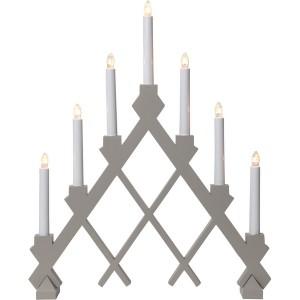 """Skandinavischer Fensterleuchter """"Rut"""" elefanten-grau aus Holz 7-flammig"""