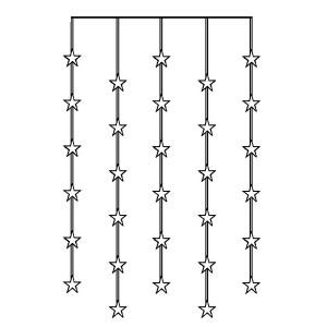LED-Lichtervorhang 120x90cm bestehend aus 30 Sternen