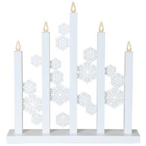 "LED-Fensterleuchter ""Schneeflocken"" 5-flammig weiß aus Holz, Design: Charlotte Falck"