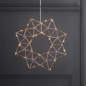 Skandinavische Weihnachtsbeleuchtung LED-Drahtstern kupferfarben