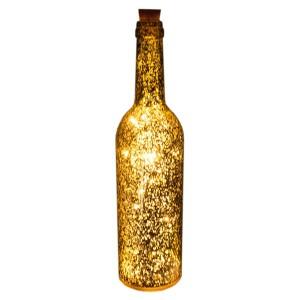 LED-Dekoration Flasche metallic gold Batteriebetrieb mit Timer