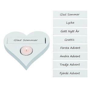 Teelichthalter Herz weiß mit 8 schwedischen Texten zum Wechseln