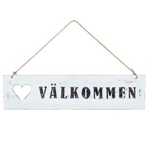 """Schwedisches Willkommensschild aus Holz """"Välkommen"""""""