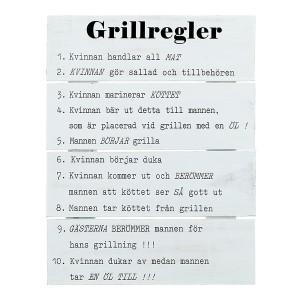 """Holztafel """"Grillregler"""" weiß gewischt mit schwedischem Text"""