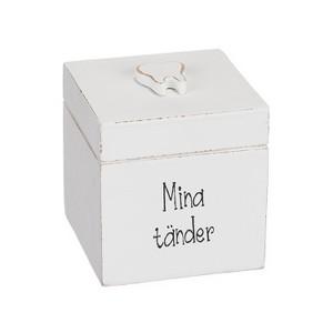 Weiße Holzdose für Milchzähne schwedisch beschriftet
