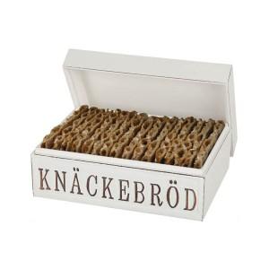 Knäckebrotdose aus Holz im weißen Shabby Stil