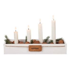 "Adventskerzenhalter ""Advent"" aus Holz weiß"