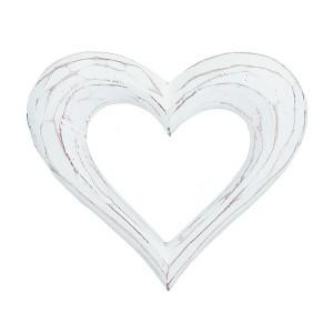 Serviettenring Herz weiß aus Holz im Shabby Stil 4er-Set