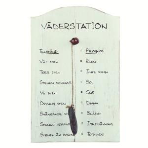 Lustige Wetterstation mit Stein mit schwedischen Texten