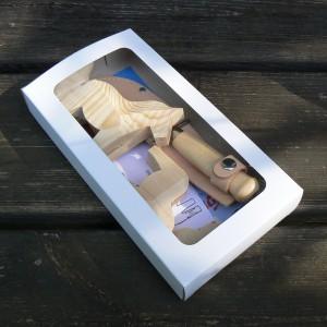 Schnitzmesser und 3 Dalapferd-Rohlinge als Geschenk-Set