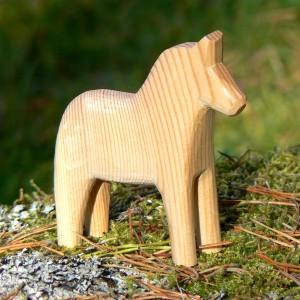 Unbemaltes Dalapferd 10cm handgeschnitzt – zum Bemalen