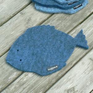 Dicker Wollfilz Untersetzer Fisch dunkelblau meliert