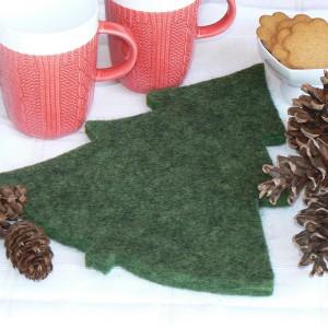 Weihnachten: Topfuntersetzer Tanne grün meliert