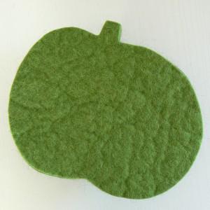 Schöne Tischdeko: Topfuntersetzer Apfel hellgrün aus Wollfilz