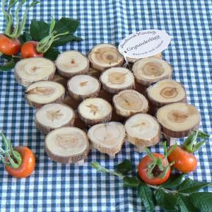 Topfuntersetzer aus seidenglatten Baumscheiben aus Wacholder Holz