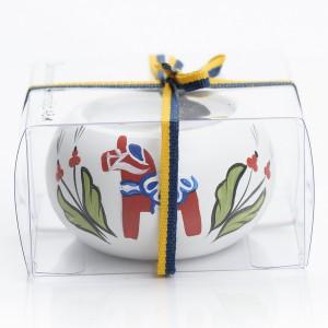 """Teelichthalter """"Dalapferd"""" weiß handbemalt"""