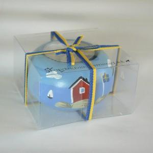 Handbemalter Teelichthalter Schärengarten in Geschenkverpackung