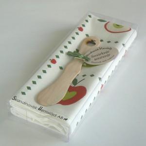 "Halbleinen Geschirrtuch und Buttermesser ""Äpfel"""