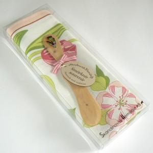 Geschenkpackung Geschirrtuch und Buttermesser rosa Blumen