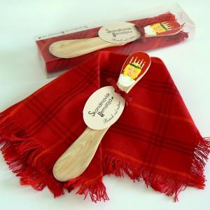 Deckchen und Buttermesser aus Wacholder-Holz handbemalt Lucia