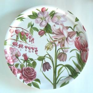 """Tablett rund 31cm """"rosa Blumen"""""""