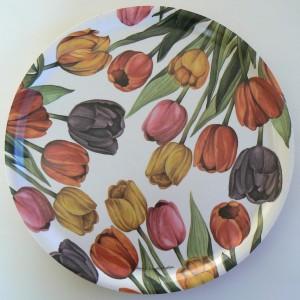 rundes Tablett mit Tulpen, Holz, Design Anna Linderholm