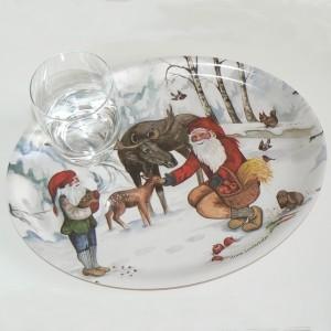 Birkenfurnier Tablett oval 33x25cm  Elch-Fütterung