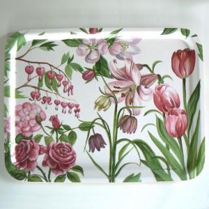 Rechteckiges Tablett mit rosa Blumen Holz, Design Anna Linderholm