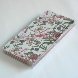 """Glasuntersetzer """"rosa Blumen"""" (6er Set) mit Korkrückseite"""