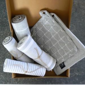 Küchentextilien hellgrau recycelt 6-teilig