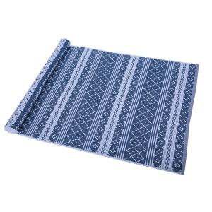 Teppich Erik blau weiß 70x250 cm Baumwolle recycelt