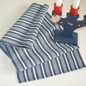 Tischläufer 120x33 cm Västkust blau weiß recycelt