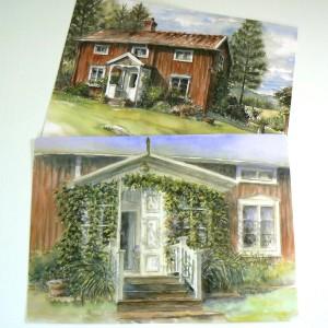 Zwei Tischsets Schwedenhaus nach Aquarellen von Kerstin Westin