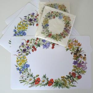 4 Tischsets Blumenkranz mit 40 Servietten