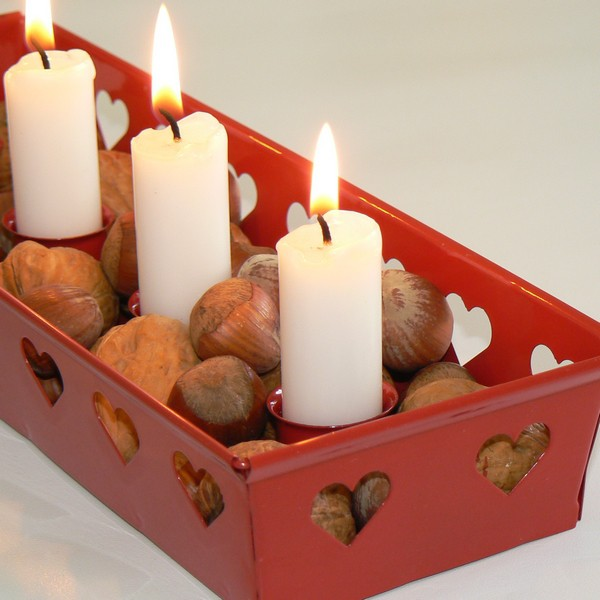Advent Kerzenhalter Metall Herzen rot