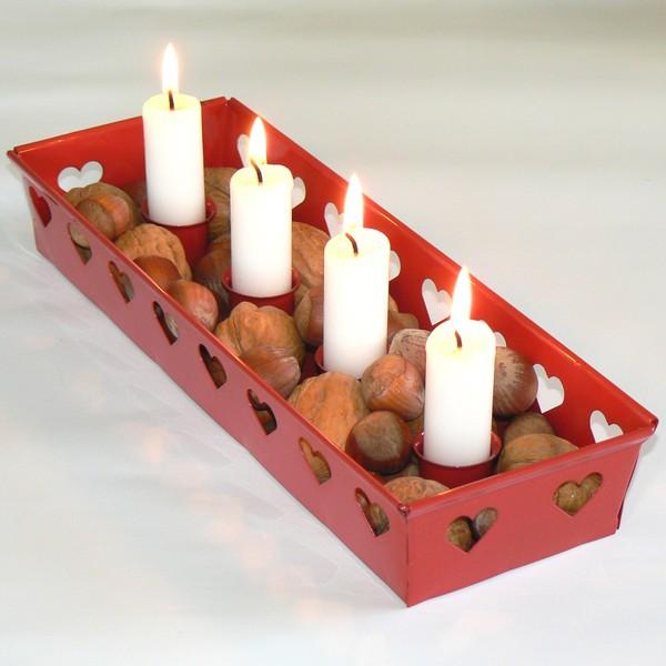 Weihnachten und Advent: Kerzenleuchter Herzen rot